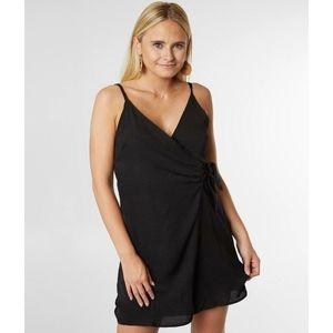 FAVLUX fashion black surplice wrap dress